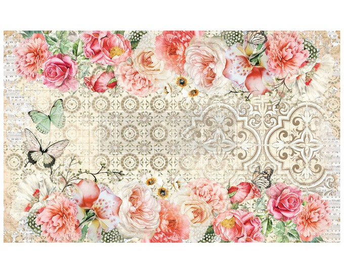 """NEW Living Coral Prima Decoupage Mulberry Tissue Paper,  Free Shipping  19"""" x 30"""" Re-Design with Prima"""