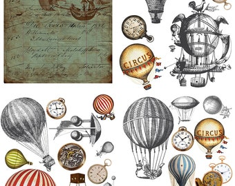 Hot Air & Clocks Dixie Belle transfer, Clock Transfers, Hot Air balloon transfer , Dixie Belle Transfer, Free shipping