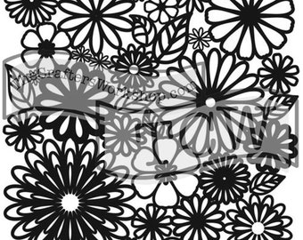 Flower Frenzy , Sign making stencil , The Crafters Workshop, reusable stencil, shaped stencil , Free Shipping, Made in USA