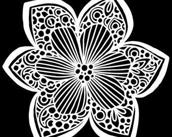 Collarette Dahlia flower stencil from The Crafters Workshop. Reusable shaped stencil with Free Shipping. Made in USA
