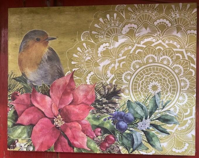 Christmas Bird Wall Decor, christmas gift, bird lover, christmas, gift for mom, free shipping