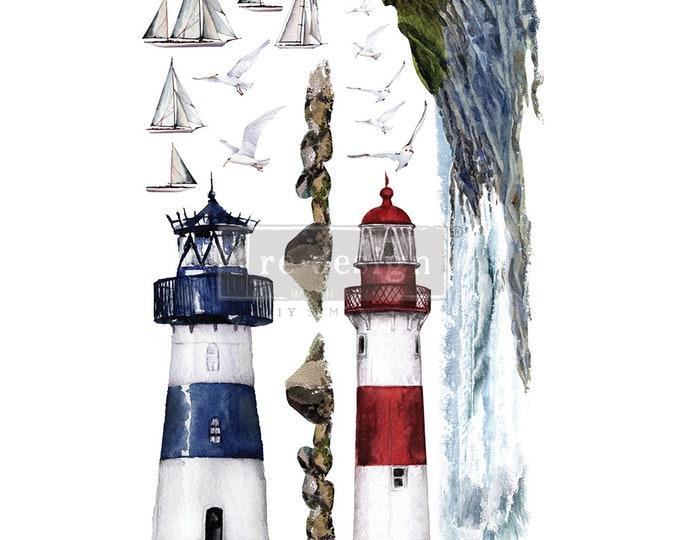 NEW FALL 2020 Lighthouse, Nautical Transfer , New Prima Transfer,  Redesign Decor Transfer Free Shipping