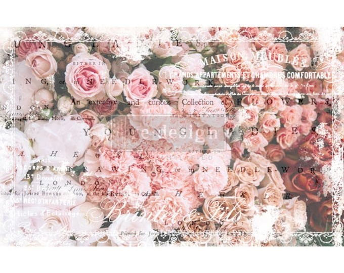 "Prima Decoupage Mulberry Decor Tissue Paper ANGELIC ROSE  Free Shipping  19"" x 30"" Re-Design with Prima"