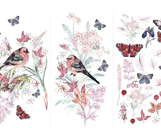 New Oiseau Rose  Hokus Pocus transfer, birds,  New Furniture Transfers, Decor Transfer, Rub on Transfer,  Free shipping