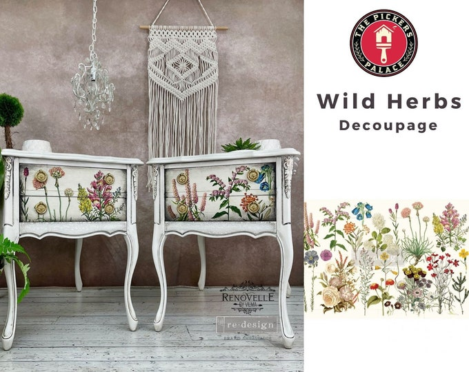 """NEW WILD HERBS Prima Decoupage Mulberry Tissue Paper,  Free Shipping  19"""" x 30"""" Re-Design with Prima"""
