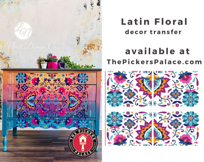 Latin Floral  Dixie Belle transfer, Floral Transfers, Flower transfer , Dixie Belle Transfer, Free shipping