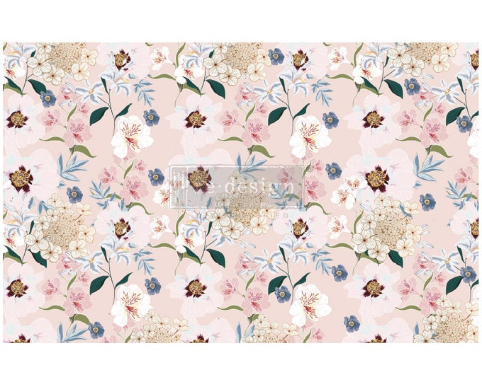 """NEW Blush Floral Prima Decoupage Mulberry Tissue Paper,  Free Shipping  19"""" x 30"""" Re-Design with Prima"""