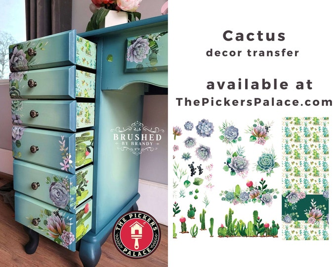 CACTUS Dixie Belle transfer with Free shipping, 6 SHEETS CACTUS  Transfers, Dixie Belle Cactus transfer , succulents