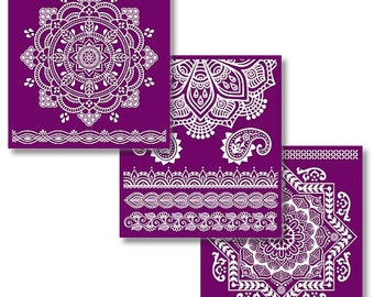 MANDALA COLLECTION, New Dixie Belle Silk Screened Stencils, 3 sheets of designs with applicator, stencils, reusable stencils,  free shipping