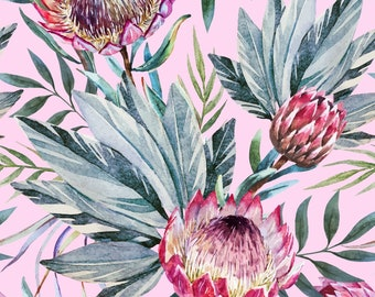 New  Decoupage Rice Paper TROPICAL ON PINK, Dixie Belle, junk journal, mixed media, Floral Rice Paper,  3 sheets per pack, Free Shipping