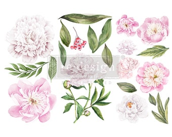 """Affordable transfers! Morning Peonies Transfer Collection 12"""" X 6"""" with FREE Shipping"""