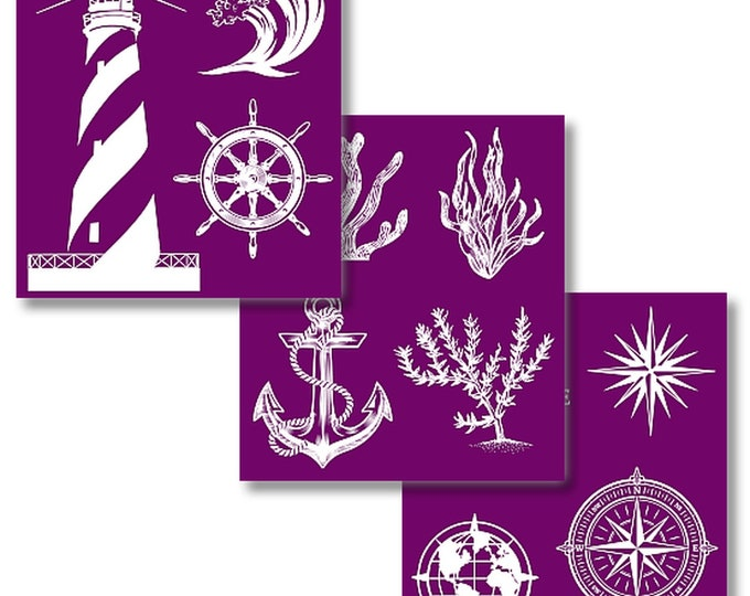 NAUTICAL COLLECTION, New Dixie Belle Silk Screened Stencils, 3 sheets of designs with applicator,  reusable stencils,  free shipping