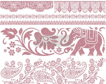 """BOHEMIAN DREAMER Clearly Aligned Decor Stamp, Prima Redesign Stamp, Boho Stamp, Elephant Stamp , Mixed Media, Walls, Free Shipping, 12""""x12"""""""