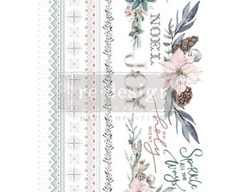 Sparkle and Joy Christmas Rub on Decor Transfer from Redesign with Prima. Free shipping