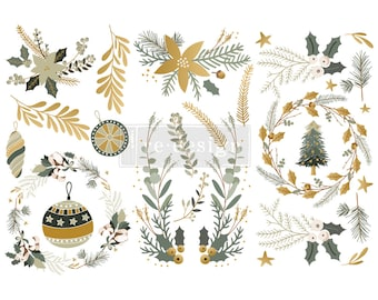 Holiday Spirit Small ReDesign with Prima Transfers with  FREE Shipping,  12 x 6 transfers