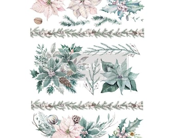 Evergreen Florals  Christmas Rub on Decor Transfer from Redesign with Prima. Free shipping