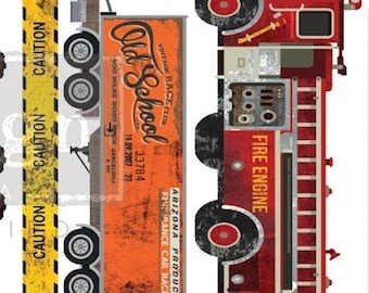 Affordable transfers! Under Construction 3 sheets, 12 X6  Rub On Furniture Decor Transfers from Redesign Prima with Free Shipping