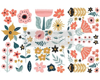 Affordable transfers! Doodle Flowers 3 sheets, 12 X6  Rub On Furniture Decor Transfers from Redesign Prima with Free Shipping