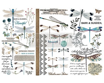 Spring Dragonfly Small ReDesign Transfers,  Dragonfy transfer, Dragonflies, FREE Shipping,  12 x 6 transfers