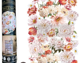 Pretty In Peach Floral  Rub on Transfer,  Redesign Transfer, Free USA shipping,