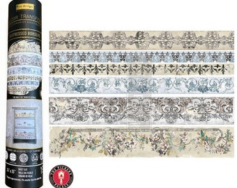 Distressed Border Transfer with FREE SHIPPING, Redesign transfer, lace border transfer, vintage border transfer