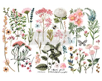 Botanical Paradise Small ReDesign Transfers, Flower transfer, flower Transfer, Tropical Flower Transfer, FREE Shipping,  12 x 6 transfers