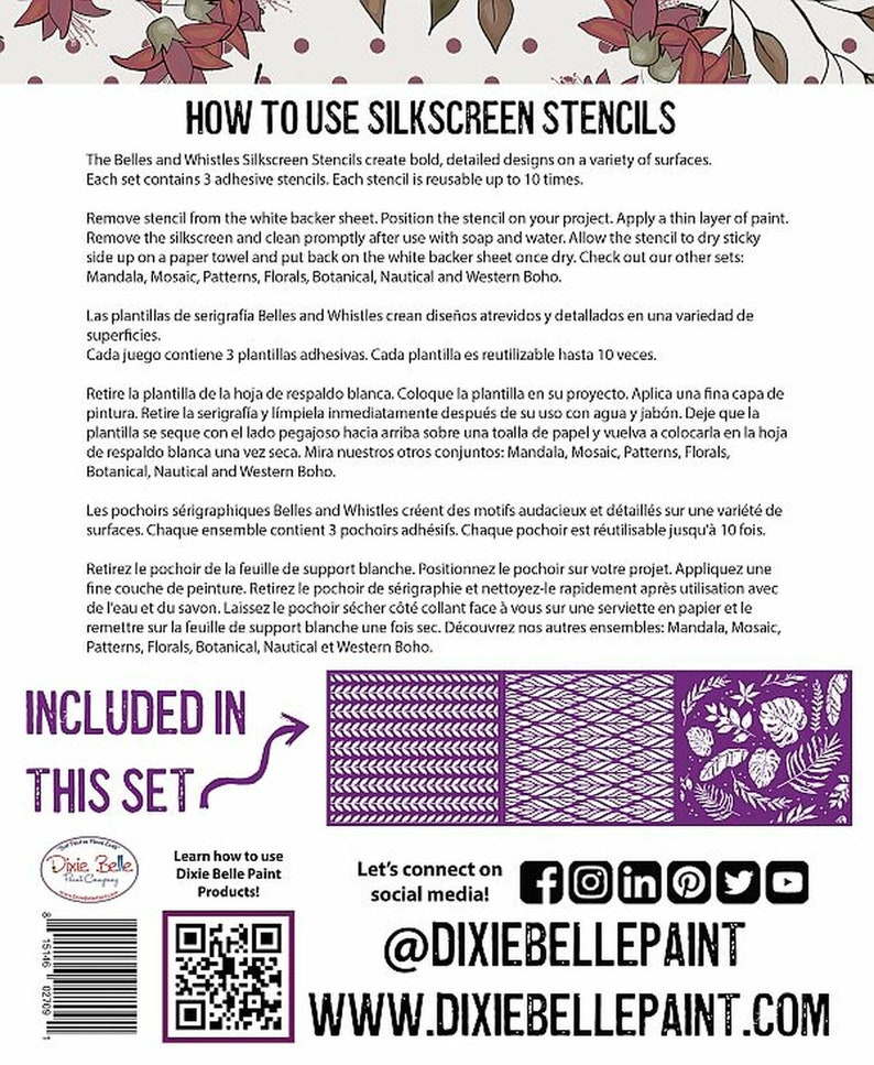 3 sheets of designs with applicator New Dixie Belle Silk Screened Stencils reusable stencils BOTANICAL COLLECTION free shipping