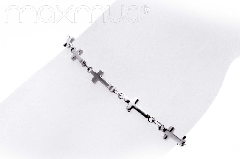 Maxmuc stainless steel bracelet with delicate cross necklace