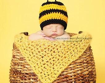 Crochet Newborn Baby Sized Bumble Bee Hat Beanie