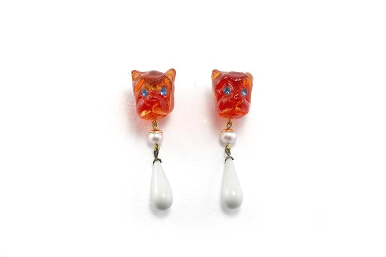 jewellery resin earrings Tangerine bulldog heads earrings Designers Jewellery. Modern art jewellery Dogs lovers