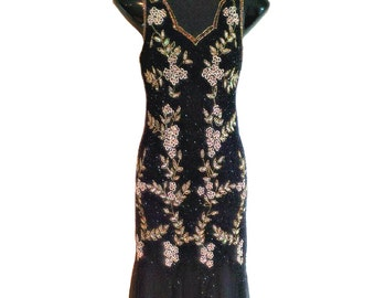 Dorris 1920s Great Gatsby Inspired, Gold Sequin Art Deco, 20s Black Floral Embroidered Maxi, 1920s Dress, Mermaid Prom Party Dress, L-XL