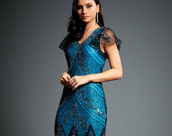 8137035cf73 Evelyn Blue Beaded Flapper Dress