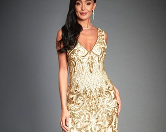 06641519708a8 Angie Gold Flapper Dress, Great Gatsby Inspired, 1920s Short Wedding Guest,  Sleeveless Art Deco Gold Beaded Party Dress, Roaring 20s, S-3XL