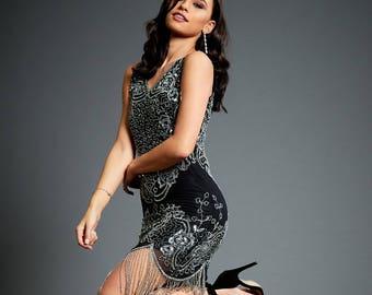 347b4f808569 Flamenco Silver Tassel Fancy Dress, Great Gatsby Party, Beaded Shift Dress,  Gypsy Bohemian Dress, Sequin Flapper 1920s Black Dress,S-XXL