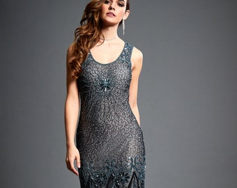 Lena Grey Black Beaded Flapper, 1920s Great Gatsby Inspired, Embellished Art Deco, Downton Abbey, Evening Gown, Plus Size Maxi, S-XXXL
