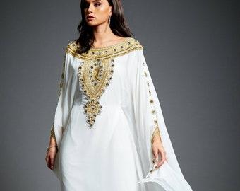 Amira Abaya Caftan, Gold Embellished Kaftan Dress, Kaftan Maxi Dress, Dubai Kaftan, Gold Beaded Wedding Evening Gown, Plus Size, S-4XL