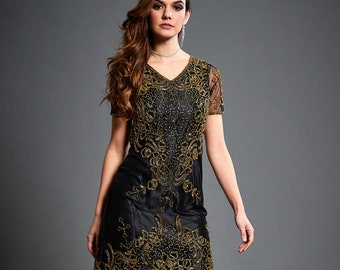 Lillian Gold Embellished Shift Dress, 1920s Great Gatsby Inspired, Charleston Sequin Flapper Dress, Short Evening Art Deco Prom Dress, S-XXL