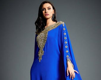 Fiza Arabic Abaya Caftan, Gold Embellished Kaftan Dress, Kaftan Maxi Dress, Bridal Kaftans, Royal Blue Evening Gown, Plus Size Dress, S-4XL