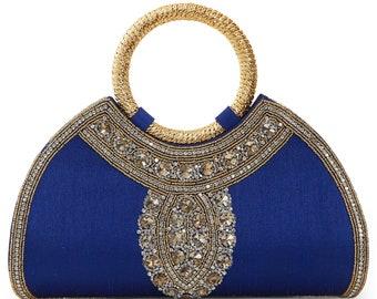 fd0ac268ec4 Fiza Royal Blue Purse, Gold Embellished Bridal Purse, Bridal Wedding Clutch  Purse, Blue Evening Formal Purse, Matching Kaftan Bag