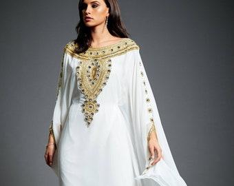 Amira Abaya Caftan, Gold Embellished Kaftan Dress, Kaftan Maxi Dress, Dubai Kaftan, Gold Beaded Wedding Bridal Gown, Plus Size Dress, S-4XL