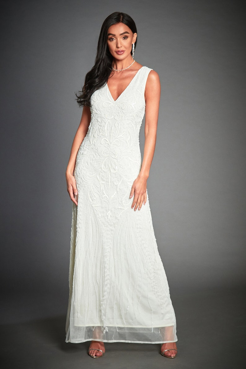 60s Wedding Dresses   70s Wedding Dresses Anna Beaded 1920s Great Gatsby Inspired Off White Wedding Dress Roaring 20s White Bridal Gown Gatsby Wedding Plus Size Dress S-XXXL $234.54 AT vintagedancer.com