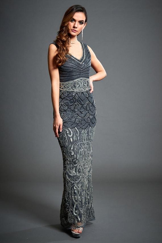 Eva Beaded V Neck Dress 1920s Great Gatsby Inspired Downton | Etsy
