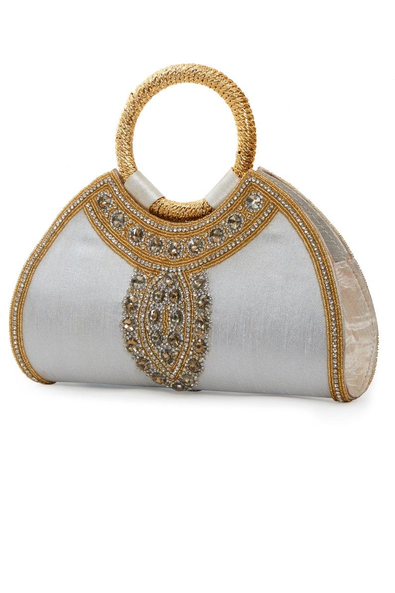dc248c2e03a Amira Off White Purse Gold Embellished Bridal Purse Bridal | Etsy