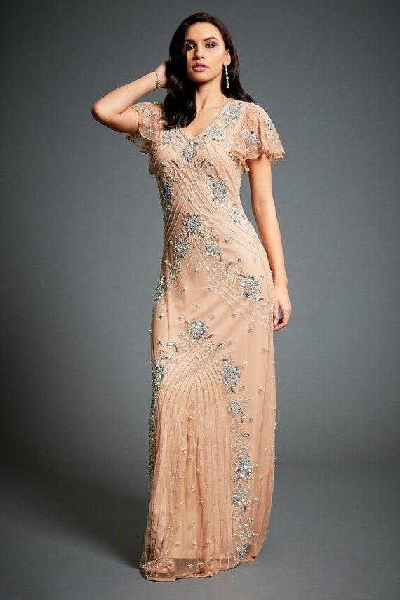 Lucy Beaded Flapper, 1920s Great Gatsby Inspired, Floral Dress With Sleeve, Roaring 20s, Nude Wedding Guest Dress, Evening Ball Gown, S XXXL