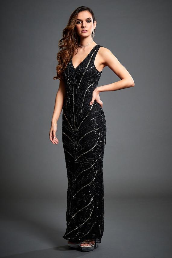 Monica Black Maxi Dress 1920s Great Gatsby Inspired Art deco | Etsy