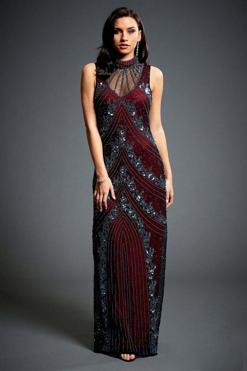 f0f515ef3547 Vivian Vine Red 1920s Great Gatsby Inspired Downton Abbey | Etsy