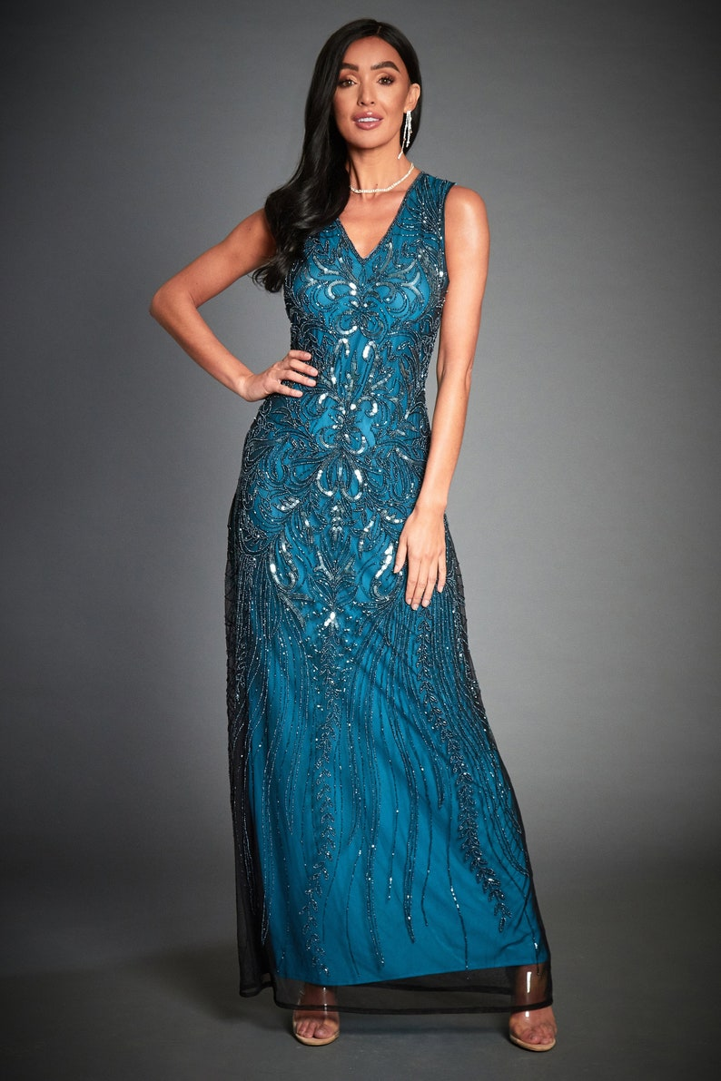 2bd1eec785 Anna Embellished 1920s Great Gatsby Inspired, Blue Evening Formal Dress,  Roaring 20s Blue Sleeveless Wedding Gown, Plus Size Dress, S-XXXL