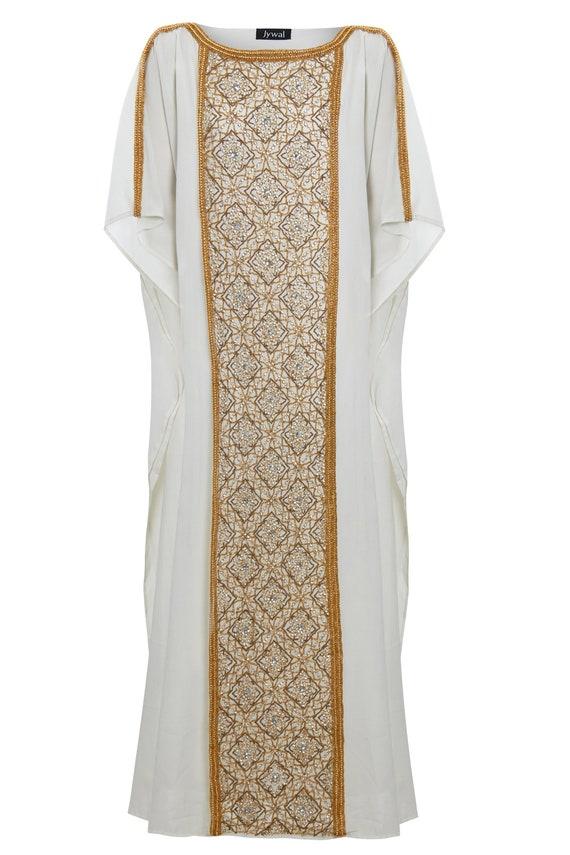 Satar Off White Caftan, Gold Embellished Dress, Wedding Kaftan Maxi Dress,  Dubai Kaftan, Arabic Bridal Kaftan Gown, Plus Size Dress, S-4XL