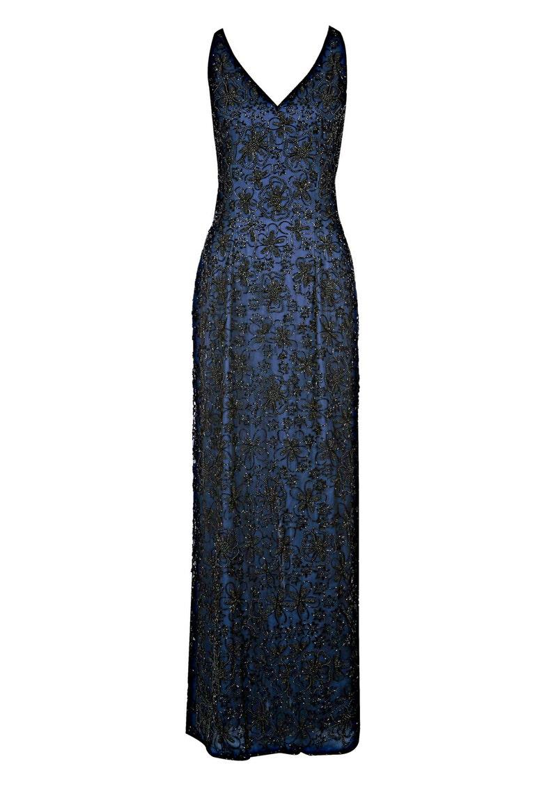 6929e653f Amy de 1920 gran Gatsby estilo Art Deco azul marino vestido