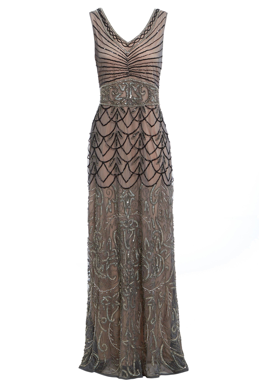 Eva Mokka Perlen Maxi Flapper Kleid 1920er Jahre Gatsby
